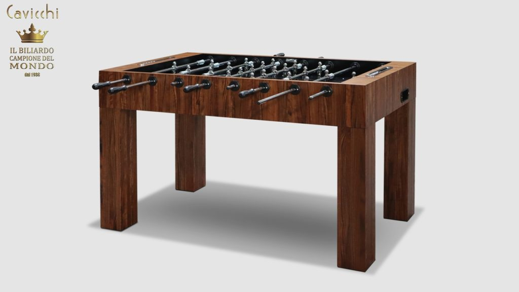 The magnificent Linear Walnut Daniela Wood Foosball Table is a special luxury and design jewel belonging to the category entered exclusive achievements in brand Cavicchi.